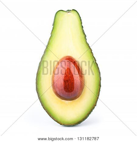 Avocado with oily stone isolated on white, with clipping path