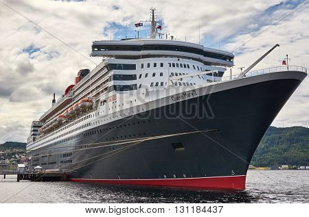 Trondheim Norway - July 18 2012: RMS Queen Mary 2