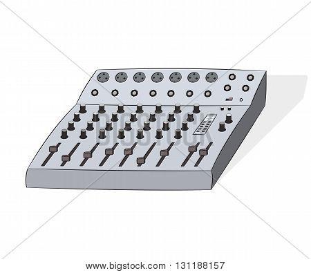 Cartoon audio mixer, vector illustration isolated on white