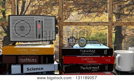 Antique radio transistor on stack of books with nature outside the window. 3D rendering
