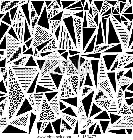 Vintage seamless pattern in black and white with retro geometric triangle shape design 80s memphis fashion style. Ideal for web background print or fabric. EPS10 vector. poster
