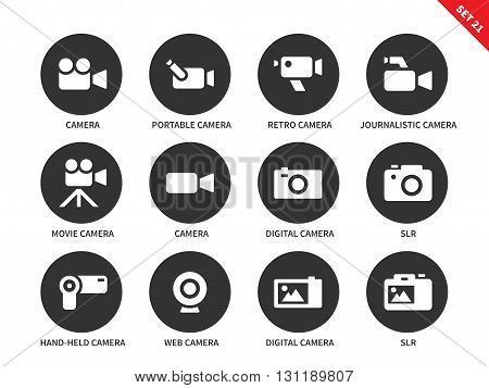 Camera and technology vector icons set. Movie and film industry eguipment, portable camera, retro camera, hand-held camera, web camer and slr. Isolated on white background
