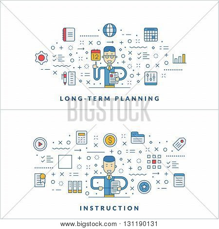 Long-term planning. Instruction. Flat line icons and businessman cartoon character. Business concept. Vector thin line illustration for website banner template or header