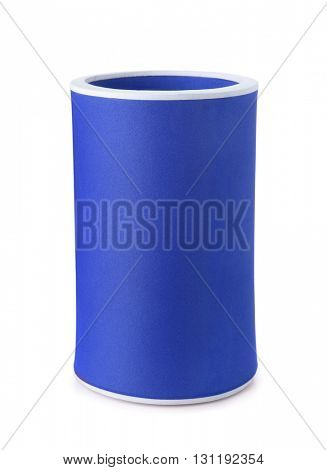 Blue foam koozie drink holder isolated on white