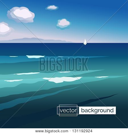 Flat design vector illustration. Sea landscape with waves boat mountains and clouds in gradient colors. Template of banner backdrop poster placard cover or splash screen in cartoon style.