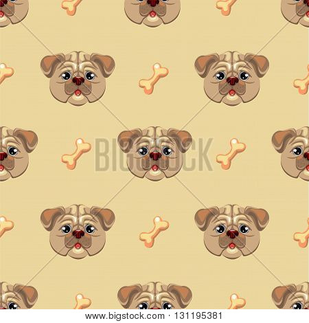 Seamless pattern with pug puppy. Hand drawn vector illustration of dog head on a beige background