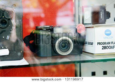 BADEN-BADEN GERMANY - NOV 20 2014: Old vintage Japanese Fuji Film digital camera in antique shop photo dealer store selling for over 500 euros
