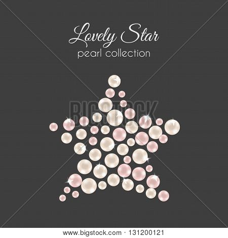 Vector perls. Pearl in star shape. Pink pearls design with sparkles. Decorative wedding element.