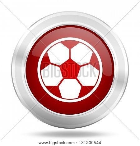 soccer icon, red round metallic glossy button, web and mobile app design illustration