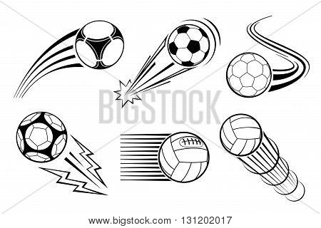 Soccer and football balls for labels and emblems. Vector elements set. Football emblem, label ball soccer, sport football, game football, play football logo illustration