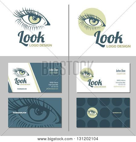 Business card with woman eye logo. Eye female, beautiful fashion eye girl, beauty eye logo. Vector illustration template