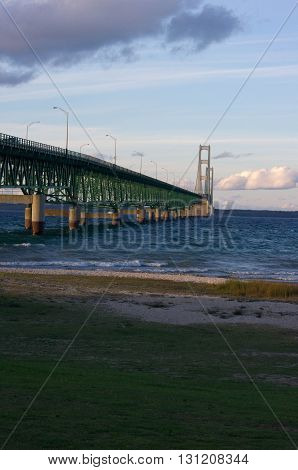 the Mackinaw Bridge taken from Mackinaw Michigan on the lake huron side.