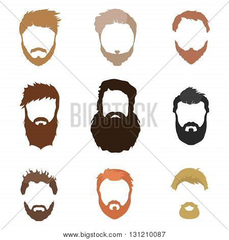 Hair, beard and face, hair, cut-out mask flat cartoon collections. Vector male hairstyles, illustrations, beards and hair. Flat hair and beard style hair fashion. Hairstyles icons isolated hairstyles for white background isolated.