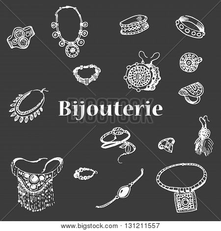 Vector illustration of a variety of decorations. Doodle bijouterie. Jewelry hand-drawn. Hand drawing female jewelery.