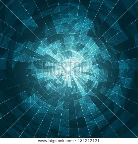 White Abstract Vector Mesh on Blue Background - Futuristic UX Background - Elegant Background for Business Presentations