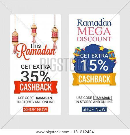 Ramadan Kareem Web Sale Banners, Mega Discount, Get Extra 35% and 15% Cashback, Vector Sale Illustration.