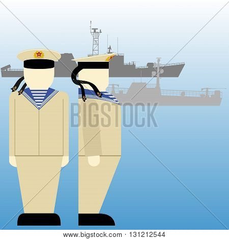Soviet sailors and ships in World War II. The illustration on a white background.