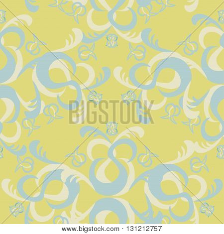 The Solemn Seamless Pattern Of Blue And Yellow. Vector Illustration