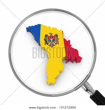 Moldova Under Magnifying Glass - Moldovan Flag Map Outline - 3D Illustration
