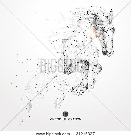 Galloping horselines and connected to formvector illustrationThe moral development and progress.
