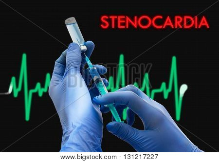 Treatment of stenocardia. Syringe is filled with injection. Syringe and vaccine. Medical concept.