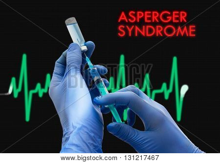 Treatment of asperger syndrome. Syringe is filled with injection. Syringe and vaccine. Medical concept.