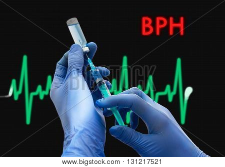 Treatment of BPH (benign prostatic hyperplasia). Syringe is filled with injection. Syringe and vaccine. Medical concept.