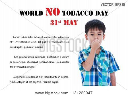 May 31st. World no tobacco day illustration vector EPS10. Asian handsome boy covering his nose. Negative human emotion facial expression feeling reaction.