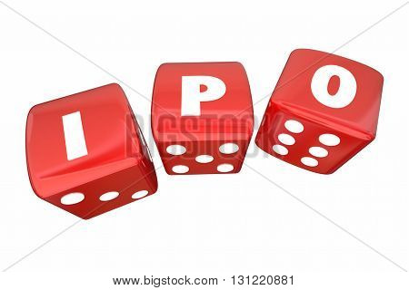 IPO Initial Public Offering Stock Sale Roll Dice Letters 3d Illustration