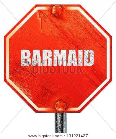 barmaid, 3D rendering, a red stop sign
