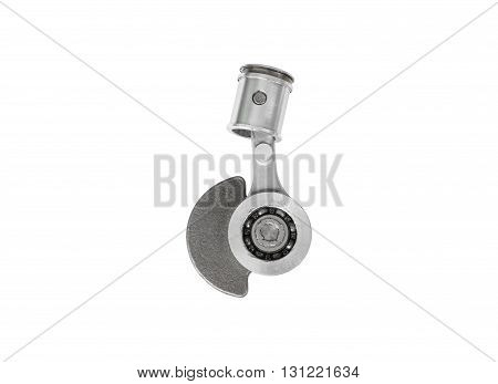 Old motorcycle piston and rod on white background