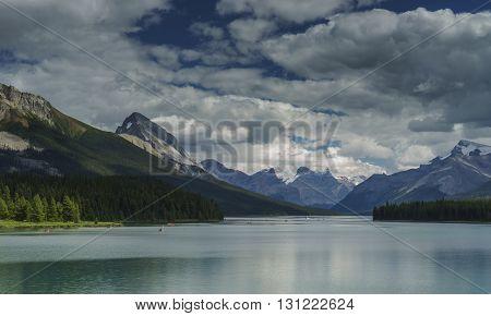 Maligne Lake near Jasper Alberta Canada with Mountains
