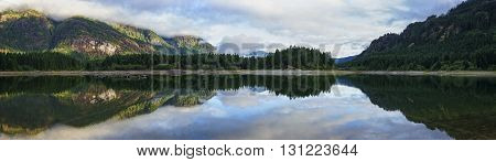 Buttle Lake Strathcona Park Vancouver Island British Columbia Canada Panorama