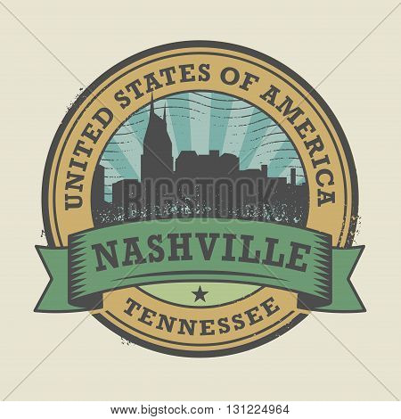 Grunge rubber stamp or label with name of Nashville, Tennessee, vector illustration