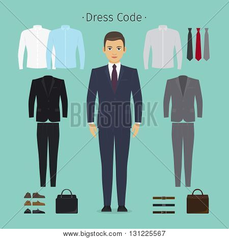 Business man clothes. Young man in office clothes vector illustration