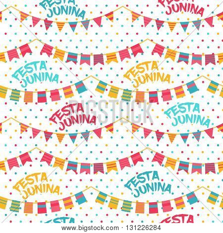 Festa Junina illustration - traditional Brazil june festival party - Midsummer holiday. Vector illustration. Seamless pattern with bunting flags and words Festa Junina. Colorful polka dot background.