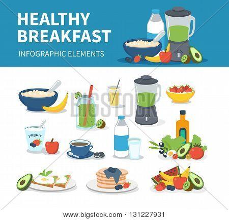Healthy breakfast infographic elements. Vector breakfast cartoon illustrations.