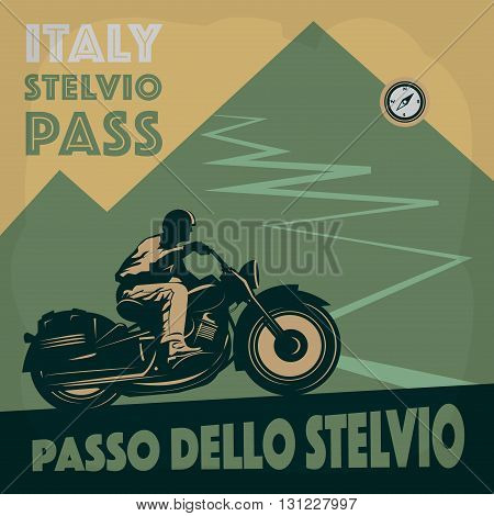 Vintage Motorcycle mountain adventure poster, Italy theme, vector illustration