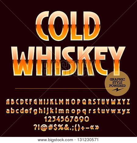 Luxury set of yellow and golden alphabet letters, numbers and punctuation symbols.Vector label with text Cold whiskey