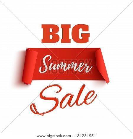 Big summer sale poster template, isolated on white background. Sale tag. Sale banner. Vector illustration.