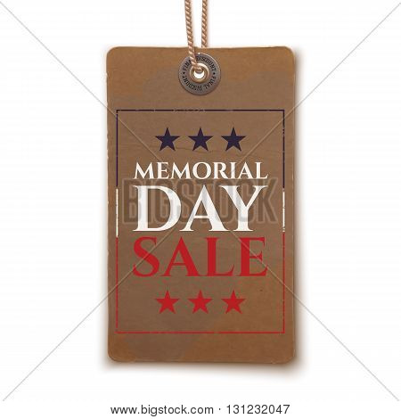 Memorial Day sale background. Memorial Day sale sign. Vintage, realistic Memorial Day price tag on white. Vector illustration.