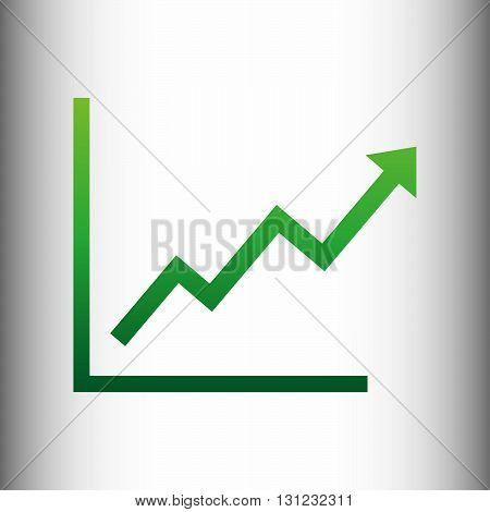 Growing bars graphic sign. Green gradient icon on gray gradient backround.