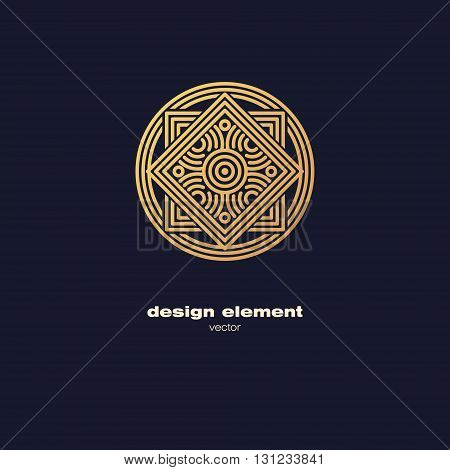 Vector design element. Template for creating logo icon symbol emblem monogram frame. Linear trend style. Illustration gold pattern on black background. Concept of unusual abstract luxury decor.