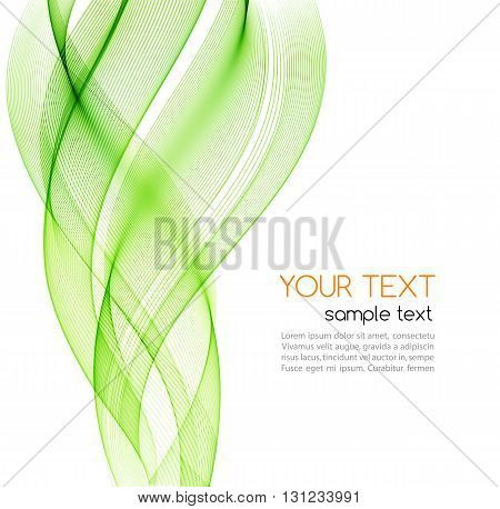 Abstract color curved lines background. Template brochure design. Smoke lines. Abstract background, green transparent waved lines for brochure, website, flyer design. Green smoke wave. Green wavy background