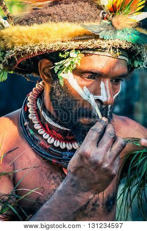 Mans Preparation In Papua New Guinea