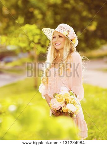Woman Outdoors Fashion Portrait Young Lady in Summer Hat Dress Park Flowers