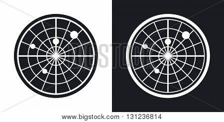 Vector radar screen icon. Two-tone version on black and white background