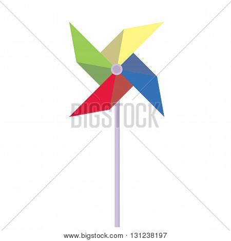 Pinwheel. Children's toy rotating in the wind. Pinwheel in a flat style. Vector illustration.