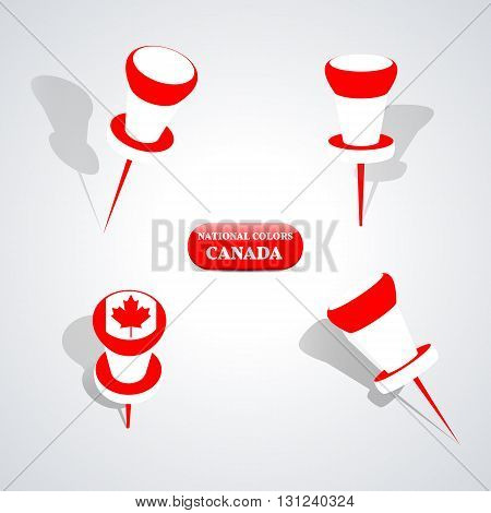 Set of pushpin in the national colors of Canada vector illustration. poster