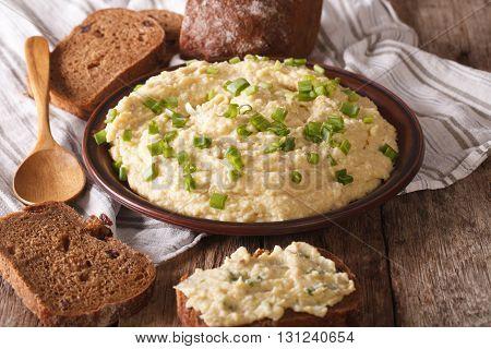 Jewish Forshmak With Rye Bread Close-up. Horizontal